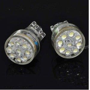 T15 White 9-LED Wedge Signal Light Bulbs - Pair (DC 12V)