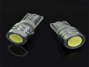 1W T10 White Wedge Signal Indicator Lights - Pair (DC 12V)