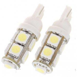 T10 3W 100-Lumen 9x5050 SMD LED Car White Light Bulb (2-Pack/DC 12V)