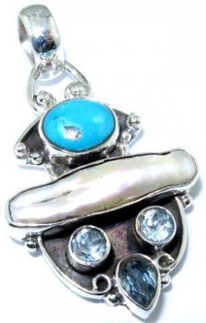 Pendant - Turquoise, Biwa Pearl and Blue Topaz