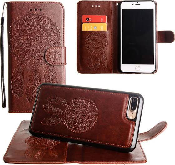 Embossed Dream Catcher Design Wallet Case with Card Holder for iPhone 7 Plus - Brown