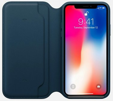 Leather Flip Cover for iPhone X - Cosmos Blue