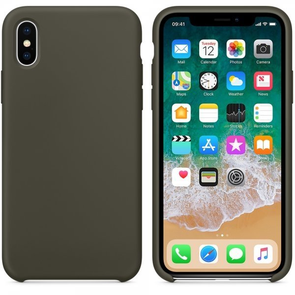 Silicone Case for iPhone X - Dark Olive