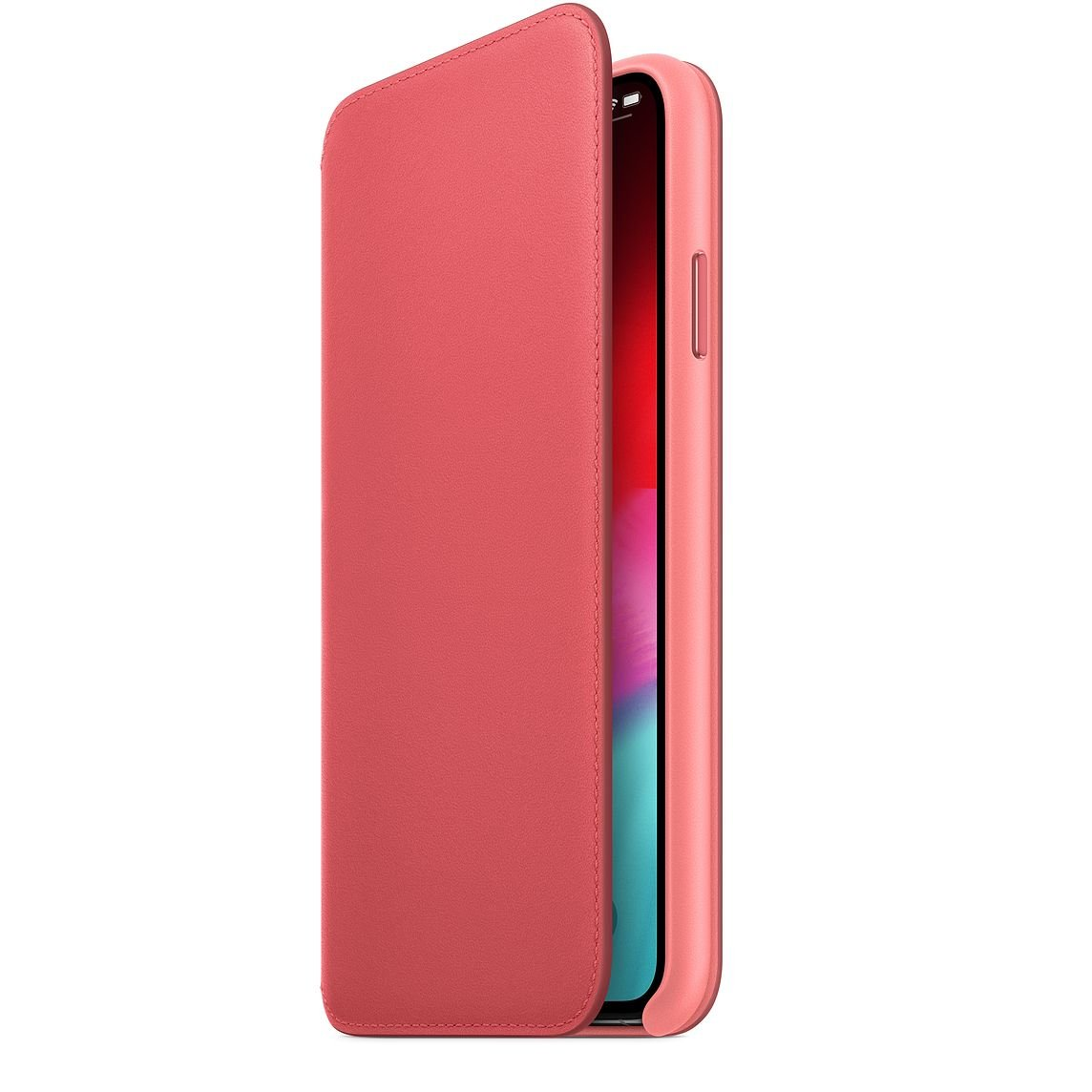 Peony Pink Leather Folio for iPhone XS Max