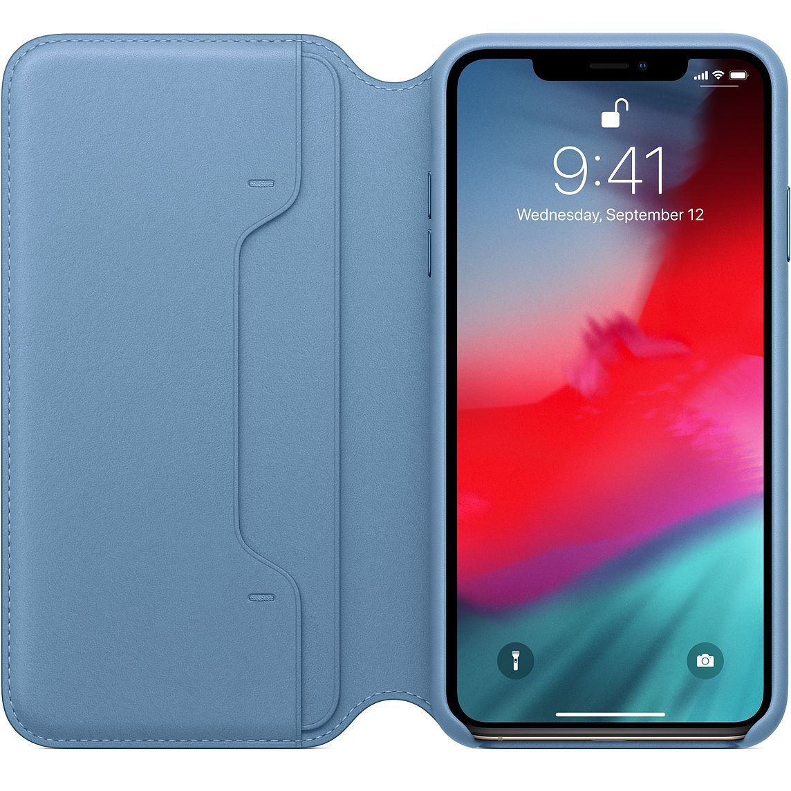 Cape Cod Blue Leather Folio for iPhone XS Max