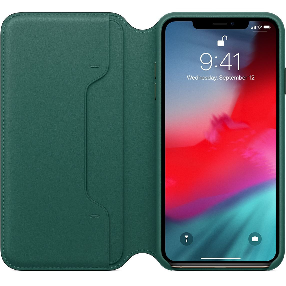 Forest Green Leather Folio for iPhone XS Max