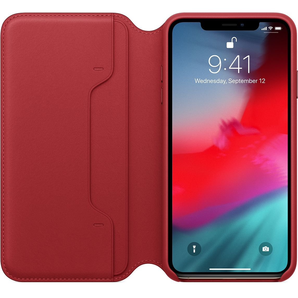 Red Leather Folio for iPhone XS Max