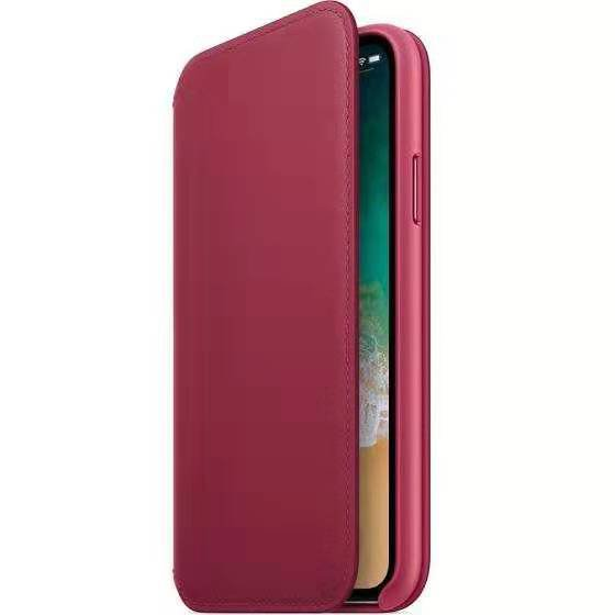 Leather Flip Case for iPhone X - Berry