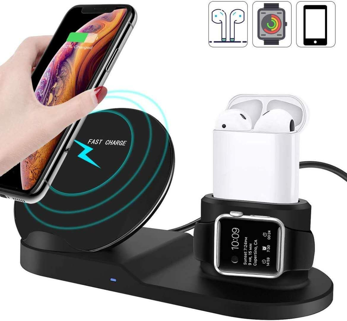 Black Wireless Charging Dock for Apple Watch, AirPods, iPhone XS Max, XR, X, 8/8 Plus