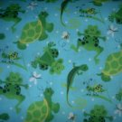 MadieBs Aqua Turtle Frog  Crib/Toddler Bed Sheet Set