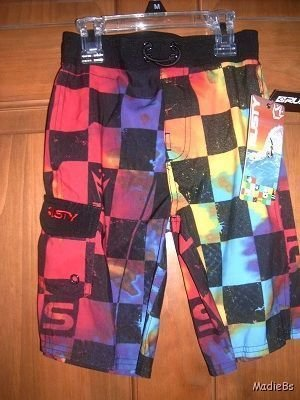 Boys Rusty Brand Size 7 Large Short Swim  Suit NWT