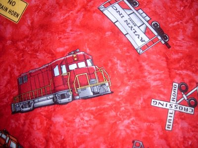 MadieBs Railroad Trains Sign on Red  Personalized Pillowcase