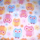 MadieBs Set of 2 Colorful Owls on Whinte  Cotton  Crib Sheets
