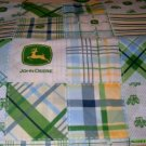 MadieBs Set of 2 John Deere Green & Blue Paid Cotton  Crib Sheets