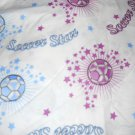 MadieBs Soccer Balls Pink and Blue on White  Custom Cotton Toddler Bed Sheet Set 3 Pc