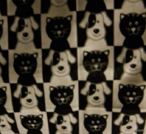 MadieBs Set of 2  Black and White Dog and Cat  Fitted  Cotton  Crib Sheets