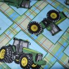 MadieBs John Deere Tracter  Blue Plaid  Nap Mat Pad Cover 3 piece set  w/Name