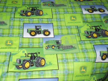 MadieBs John Deere Tractors Green Plaid Nap Mat Pad Cover 3 piece set  w/Name