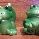 Vintage Playful Baby Frog Salt & Pepper Shakers - 1980's