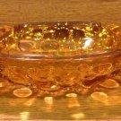 Vintage Blenko Amber Glass Ash Tray with Pebble Bottom - 1970's
