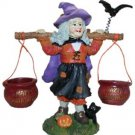 BNIB Four Seasons Poly Stone Halloween Figurine, Witch with Cauldron Candy Buc..