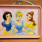 BNIPDisney Princess Cinderella, Belle & Snow White Mini TinLunch Box Handle Wo