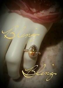 Large Champagne Pear Shaped designer Swarovski Crystal Ring Gold Overlay