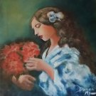 IMPRESSIONIST OIL ART PIECE OF WHAT I CALL LITTLE GIRL ADMIRING FLOWERS