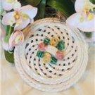 Majolica Capodimonte Lattice Porcelain/Ceramic  Rose Floral Trinket holder