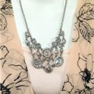 "Betsey Johnson Whimsical Pagent like breathtaking necklace  18"" long Silver over"