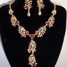 Luxury Topaz and Crystal Gold Plated Earring & Necklace Set