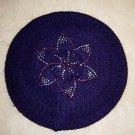 Rabbit Fur Blends Knit With Crystal Flower Looking Winter Hat Cap Purple