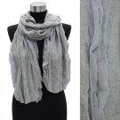 Winter Fashion Duo Tone Chiffon Edge Acrylic Scarf Wrape Shawl Gray