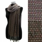 Small Square Dots Reversible Pashmina Shawl Wrap Scarf Mixed Brown
