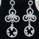 Luxury Rhinstone Fancy Flowerlike Platinum Plated Bridal Earrings