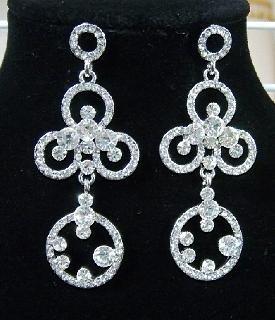 Luxury Rhinstone Fancy Flowerlike Platinum Plated Bridal Earrings