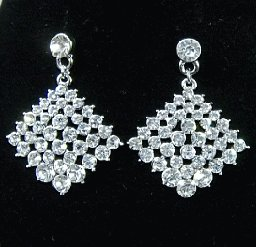 Rhinestone Pave Squarel Design Earrings Ring Necklace