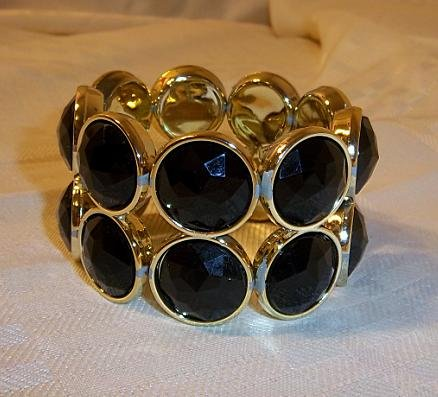 Vintage Design Bead Looking Plastic Stretch Bracelet  Bangle Black