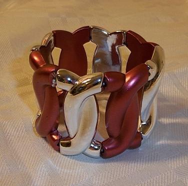Vintage Design Crossed Circle Motif Stretch Bracelet Burgundy + Golden