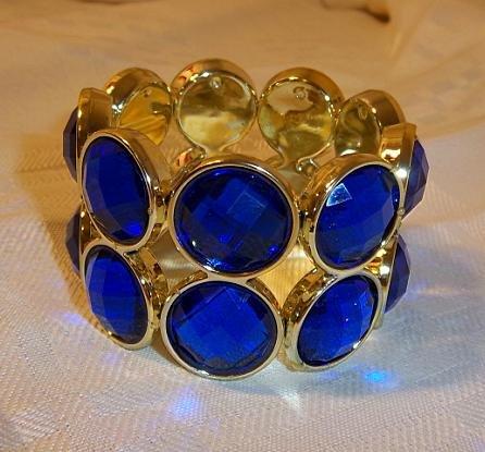 Vintage Design Bead Looking Plastic Stretch Bracelet Bangle Blue