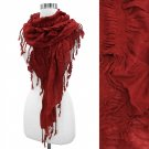 Elastic Ruffle With Tassel Fringe Scarf Shawl Wrap Between Burgundy and Purple