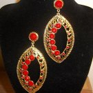 Crystal paved Large Design Antique Gold Tone Post  Earrings Red