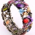 Antique Gold Tone Metal Genuine Austrian Rhinestone & Stone Stretch Cuff Bracelet