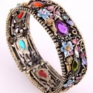 Antique Metal Looking Stretch Cuff Bracelet With Genuine Austrian Rhinestone &  Stone