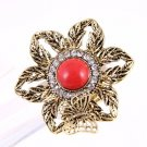 Flower with Butterfly Rhinestone Antique Gold tone Metal Elastic Stretch Ring Red