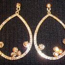 Crystal Pave With Roric Tear Drop Gold Plated Earrings