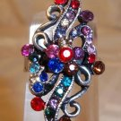 Beautiful Floral Look Crystal Adjustable Ring