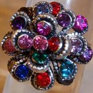Antique Silver Plated With Multi Rhinestone Flower Adjustable Ring