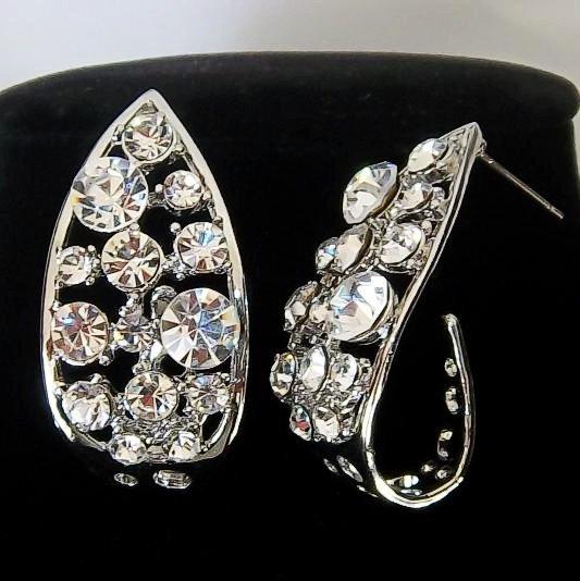 Platinum Plated Crystal Pave Tear Drop Looking Stud Design Vintage Earrings