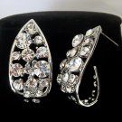 Platinum Plated Crystal Pave Tear Drop Looking Stud Design Vintage Earrings